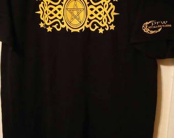 Pentagram and scrolling shirt