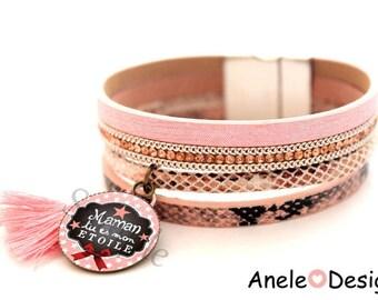 Gift for MOM - pink stars Pompom Cuff Bracelet