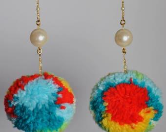 Love Bird Pom Pom Earrings