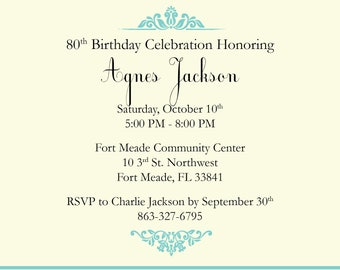 Simple Damask Birthday Invitation