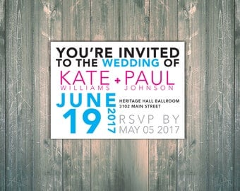 Wedding Invitation Printable Digital File Modern Typographic Bold Invitation