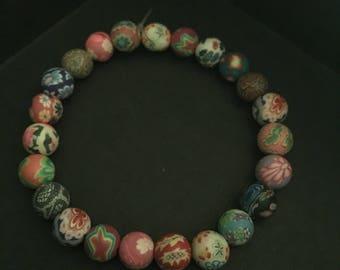 Floral Polymer Clay Bracelet