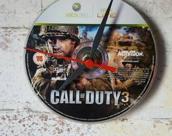 Call of Duty 3 Gaming CD Clock unique gift - upcycled