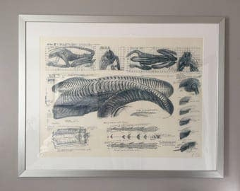 ALIEN Original Lithograph signed/numbered by HR Giger. Coming with COA