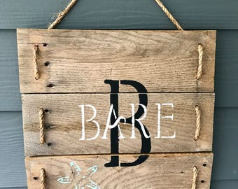 Rustic reclaimed wood family name sign, personalized sign
