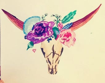 Custom Watercolours - Longhorn