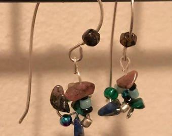 Vintage gemstone chip earrings