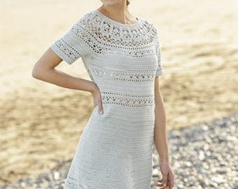 Crochet Dress 100% cotton, lace pattern and short sleeves