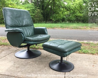 Mid Century Ekornes Style Reclining Swivel Office Chair / Lounge Chair /  Arm Chair W