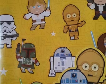 Star Wars Gift Wrapping Paper Yoda C3P0 Luke Skywalker Darth Vader Storm Trooper R2D2