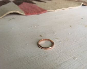 Handmade Simple Wedding Band 14K Rose Gold Size 5