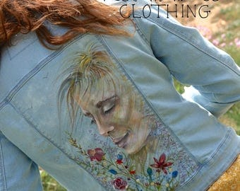 Upcycled, hand painted denim jacket Mindfulness