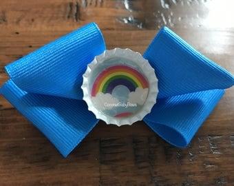 Rainbow Bottle Cap Hair Bow