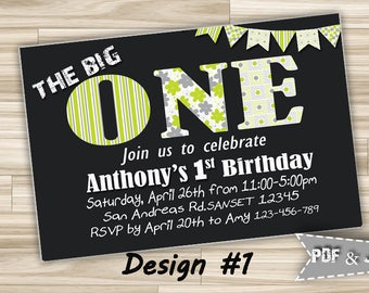 First Birthday Invitation One Printable Birthday Invitation Boy Birthday Invitation for Boy Birthday Party Invitation Digital Download