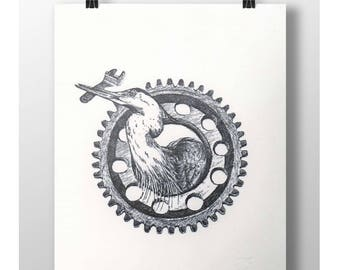 Working class heron - Letterpress art print