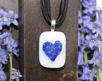 blue hart, fused glass, pendant, necklace, handmade, jwewllery