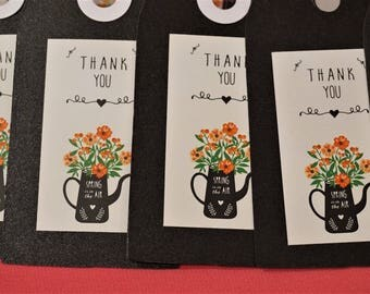 10 Large Flower Thank You Tags