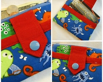 Monster print zip wallet with red accents Free Shipping in US
