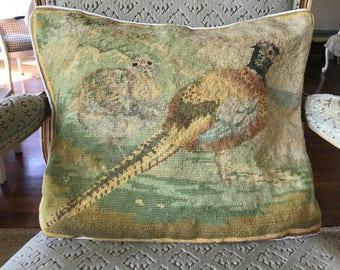 Vintage Aubusson pillow sham