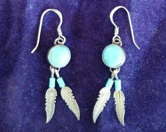 Turquoise and Sterling Silver earrings. FREE SHIPPING