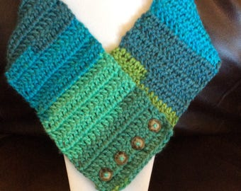 Cowl Scarf / Handmade / multi colored / Crochet / Super Soft