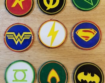 Hand painted DC Comics Superhero coasters