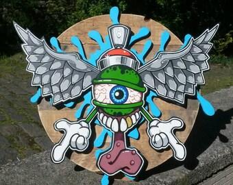 Graffiti character painting on wood cutout. 3 layers