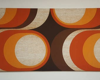 "Awesome one of a kind Mid Century Vintage 70s retro stretched fabric framed art wall hanging-""70's Eye"""