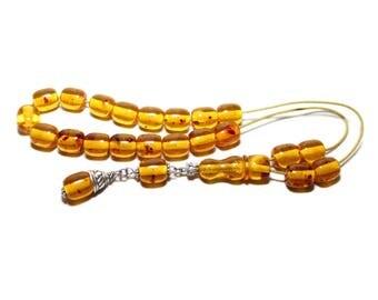 Worry Beads, Komboloi, Baltic Amber color, Barrel shape beads,  Greek Komboloi, Relaxation, Meditation, Tesbih, Stress Relief, Gift for Men