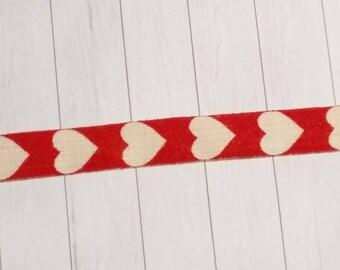 Ribbon, beige- red, Heart, 15mm, 100% Cotton