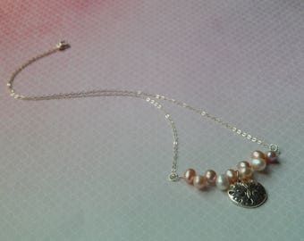 Natural pastel colored pearls and sand dollar charm silver chain necklace