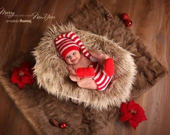 Elf baby set, elf crochet suit, elf for Christmas, newborn photo prop, set, knot hat, pants and bootees