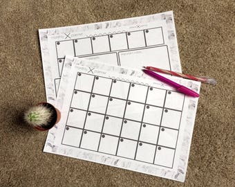 Marble Monthly Planner sheet PDF