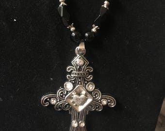 Black and silver heart cross beaded necklace and earrings set