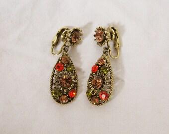 70's Clip On Dangle Earrings