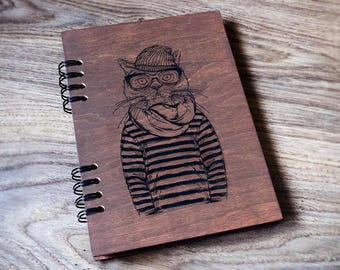 Cat notebook Wooden notebook Wood journal Travel journal Engraved notebook Custom journal Sketchbook Laser engraved journal
