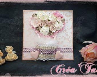 Shabby pink wedding congratulations card