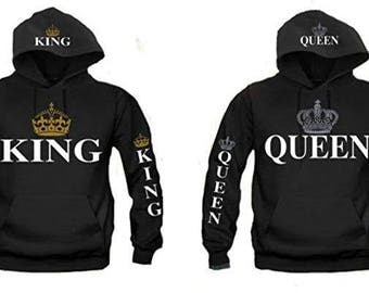 KING AND QUEEN Matching Couples Unisex Hooded Sweatshirts