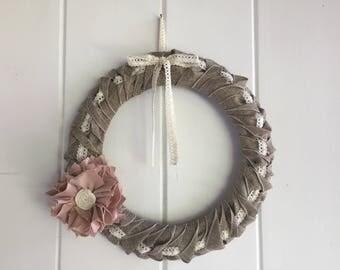 Burlap Wired Ribbon Wreath
