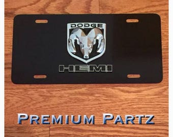 Dodge Ram Hemi 3D Carbon Fiber License Plate Custom New Aluminum Black & Chrome Ram Challenger Charger Mopar Cuda SRT8 Hemi