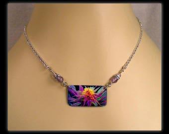 Rainbow Marijuana Plant Photo Charm Amethyst Gemstone Necklace