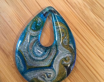 Teardrop lampworked glass focal