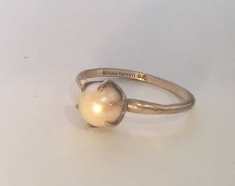 Antique 10K Gold Filled Unicas Pearl Edwardian Solitaire Size 8.75