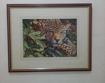 leopard in repose completed framed new finished cross stitch walldecor