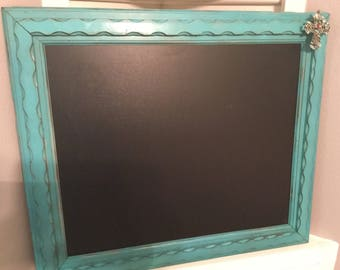Repurposed Antique Turquoise Chalkboard Frame