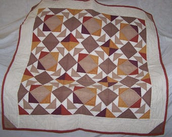"""Hand Sewn Quilted Lap Warmer (45""""L X 44""""W) """"The Old Timer"""" with Modern Geometric Shapes"""