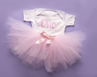 first birthday tutu set - baby pink