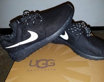 Custom Nike Roshe Run Oreo athletic running shoes White Speckled