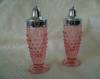 Pink Glass Hobnail Salt and Pepper Shakers
