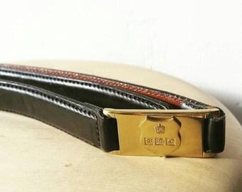 """Vintage Ralph Lauren Hallmark Skinny leather Belt. Black leather skinny belt with gold hardware. Size M. 34"""""""